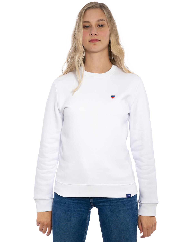 """Vorder-Ansicht des hochwertig bestickten kuscheligen und warmen LASARRE Frauen Sweater """"HANNAH"""" in der Farbe Weiß von der Saarland Marke Lasarre mit dem LASARRE Wappen in Blau, Weiß, Rot auf der linken Brust und dem blauen LASARRE Markenzeichen am Saum"""