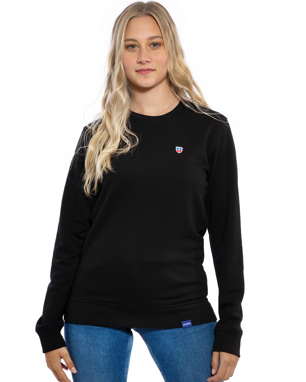 """Hochwertig besticktes dünnes LASARRE Frauen-Sweatshirt bzw. Frauen-Pullover """"MARIE"""" in der Farbe Schwarz von der Saarland Marke Lasarre mit dem LASARRE Wappen in Blau, Weiß, Rot von auf der linken Brust und dem blauen LASARRE Markenzeichen am Saum"""