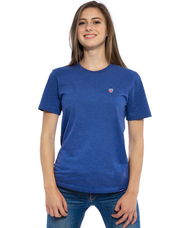 """Vorder-Ansicht des hochwertig bestickten VIVE-LA-SARRE T-Shirt """"CLAIRE"""" für Frauen in der Farbe Kobalt von der Saarland Marke Lasarre mit dem LA-SARRE Wappen in Blau, Weiß, Rot auf der linken Brust und dem blauen LA-SARRE Markenzeichen am Saum"""