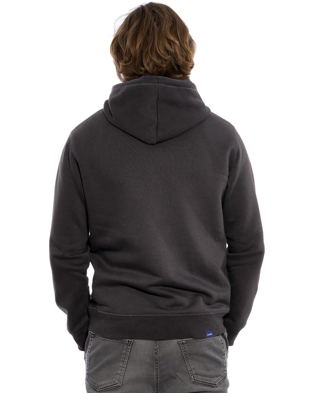 """Rücken-Ansicht des hochwertig bestickten, sportlichen, dünnen Männer Hoodie """"LUKAS"""" in der Farbe Anthrazit von der Saarland Marke Lasarre mit dem LASARRE Wappen in Blau, Weiß, Rot auf der linken Brust und dem blauen LASARRE Markenzeichen am Saum und im Nackenbereich"""