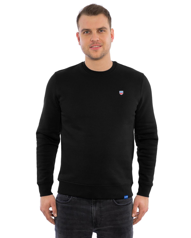 Auf diesem Bild zu sehen ist ein eleganter Sweater in Schwarz, getragen von einem männlichen Modell. Der schlicht und modern geschnittene Sweater hat eine matte, schwarze Oberfläche und trägt auf der Brust das Firmenlogo, am Saum das blaue Schildchen mit dem Firmennamen LASARRE.